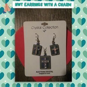 Cross Earrings & matching charm set NWT
